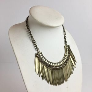 Urban Outfitters Gold Brass feather bib necklace